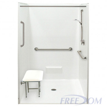 VA shower with ID 48 x 48, white with tile pattern.1 inch threshold. Add folding seat and grab bars