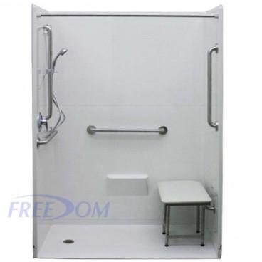 54 by 36 inch zero entry shower stalls, white, left drain, 1 inch threshold, added safety bars.
