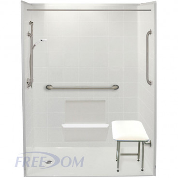 60 x 31 inches Freedom Accessible Shower Package, Left Drain