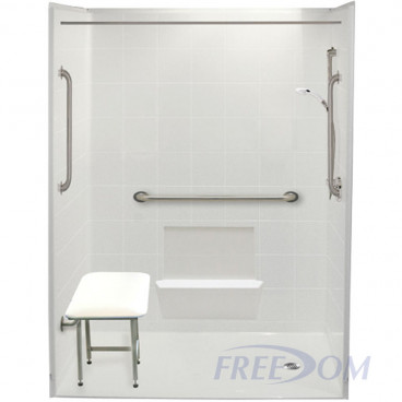 60 x 31 inch handicapped accessible shower stalls, right drain, 1 inch threshold, white tile pattern