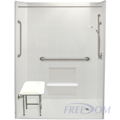 """60"""" x 31"""" Freedom Accessible Shower, Right Drain"""