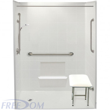 60 by 33 inch white Roll in showers for wheelchair, 1 inch threshold, left drain, 5 pieces