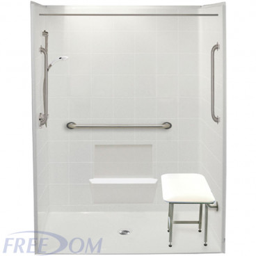 white 60 by 33 inch accessible showers, center drain, 3/4 inch threshold, folding shower seat added