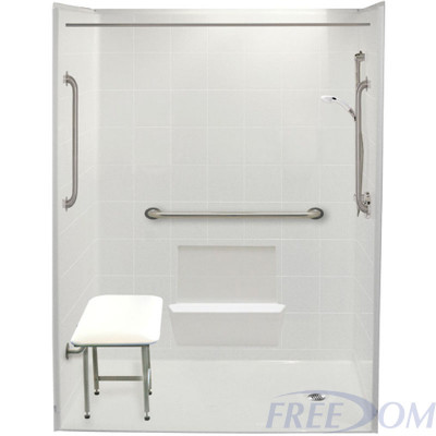 """60"""" x 33⅜"""" Freedom Accessible Shower, Right Drain"""
