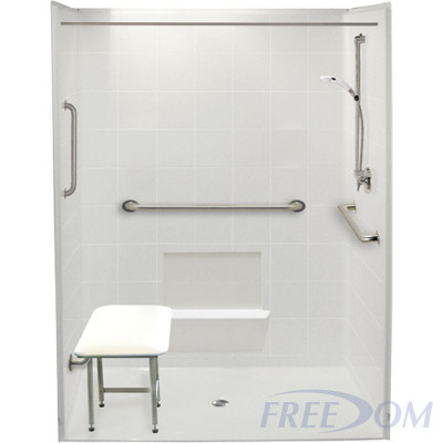 """60"""" x 37"""" Freedom Accessible Shower, Center Drain"""