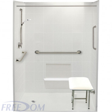 60 by 37 inch white roll in shower stall, 1 inch threshold, left drain, 5 pieces for remodeling