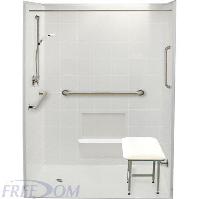 """60"""" x 37"""" Freedom Accessible Shower, Left Drain"""
