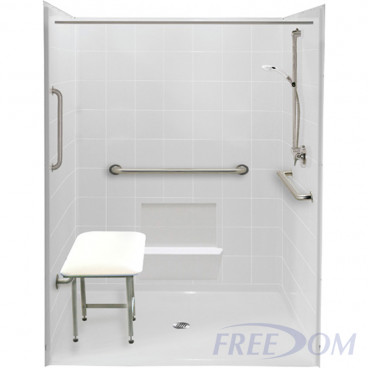 60 by 61 inch white Handicapped Accessible Shower, roll in threshold, center drain, 5 pieces
