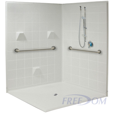 """61"""" x 61"""" Freedom Accessible Corner Shower"""