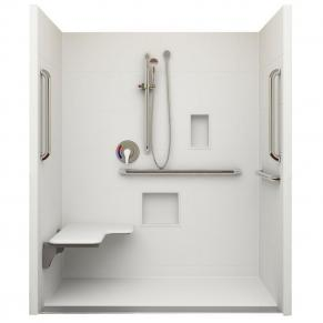 "62¼"" x 32⅛"" ADA Linear Drain Roll In Shower, Left Seat"