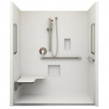 Linear Drain ADA Roll In Shower 60 in x 36in ID, Left Seat