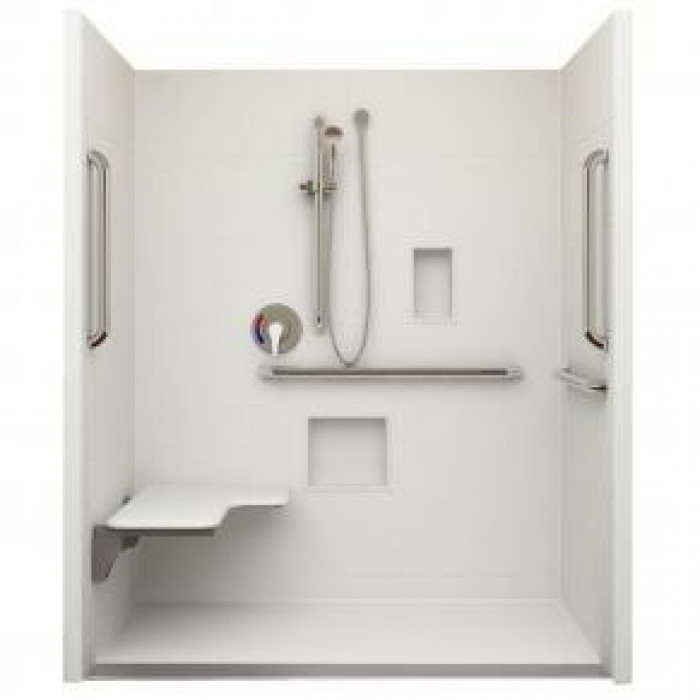 "62"" x 38"" ADA Roll In Shower, Linear Trench Drain, Left hand"