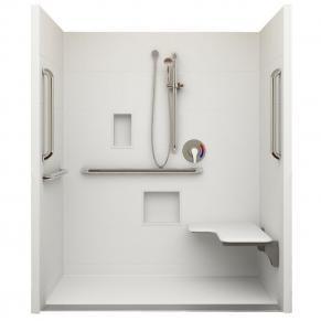 "62¼"" x 38⅛"" ADA Linear Drain Roll In Shower, Right Seat"