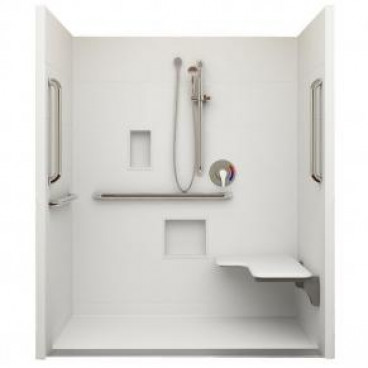Trench Drain ADA Roll In Shower 60 in x 36in ID, Right Seat
