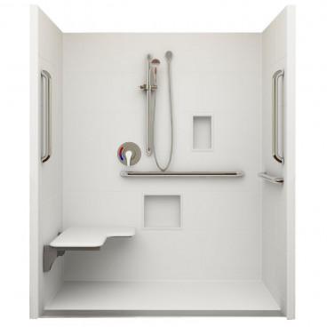 Linear Drain ADA Roll In Shower 60 in x 30in ID, Left Seat