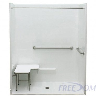 62 by 32 inch white ADA Shower, Roll in, .75 inch threshold, center drain, 5 pieces