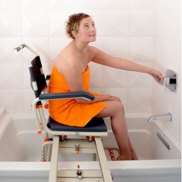 Woman on TubBuddy Chair in bathtub