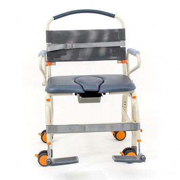 """roll in ShowerBuddy XXL 26"""" wide seat front view"""