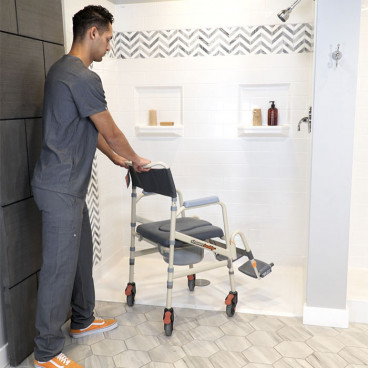 eco shower chair helps caregivers