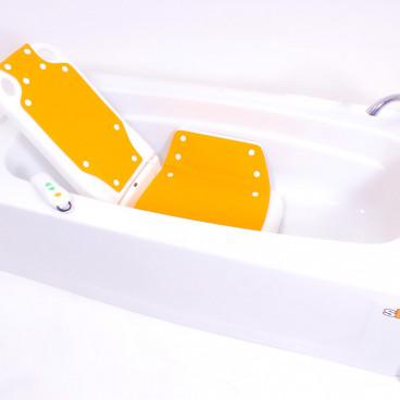 Bathlyft chair lowered into bathtub
