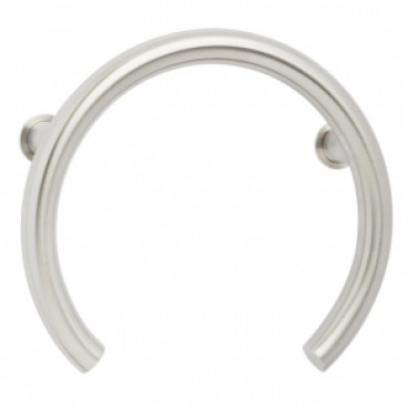 Satin stainless grab bar for shower valve