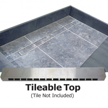 "63"" x 42"" Tile Over Barrier Free Shower Pan, Trench Drain"