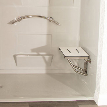 solid top shower bench in accessible shower