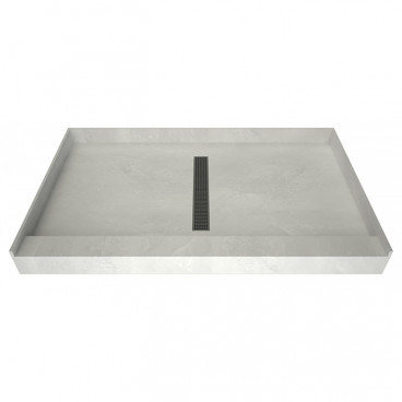 60 x 36 Curbed Shower Pan, Tileable grate, Center trench drain