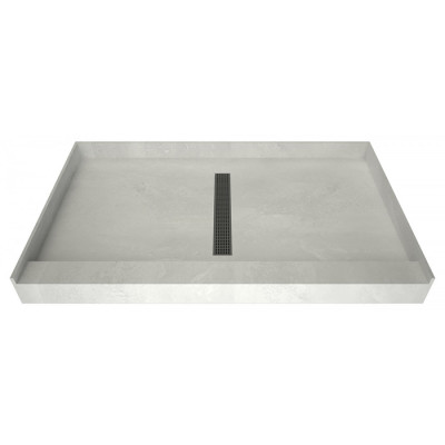 """60"""" x 42"""" Tile Over Curbed Shower Pan, Polished Chrome Designer Grate, Center Trench Drain"""