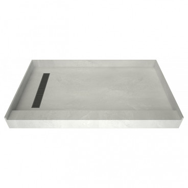 60 x 36 Easy Step Shower Pan, Polished Chrome Grate