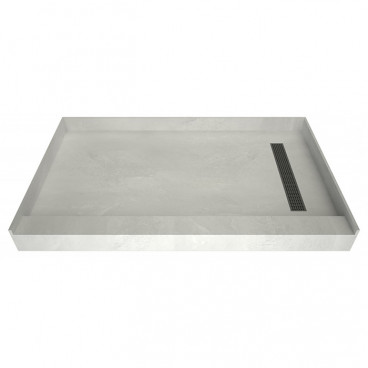 60 x 36 Curbed Shower Pan, Brushed Nickel, right drain