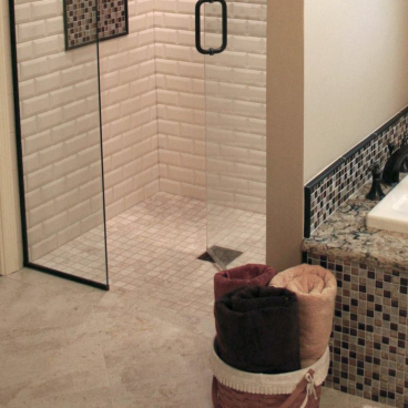 small tile shower level entry