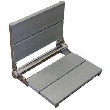 gray wall mounted folding shower seat