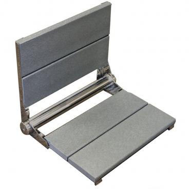gray wall mounted folding shower seat
