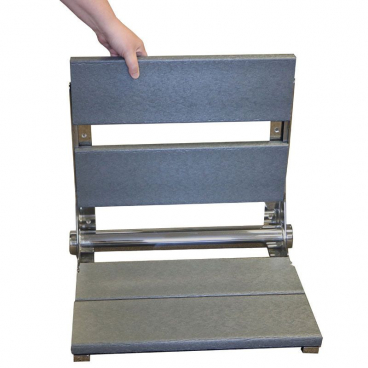 gray shower bench with removable slats