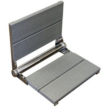 gray folding shower seat with back