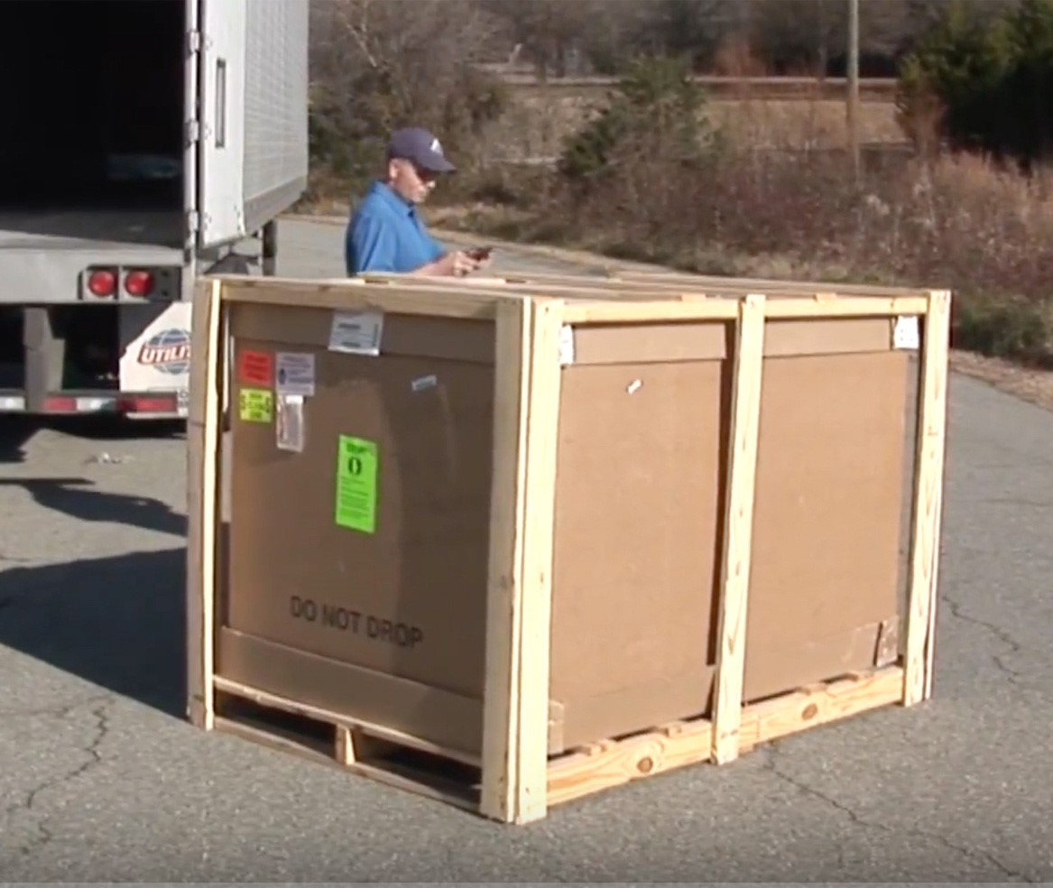 easy step shower arrives in a crate
