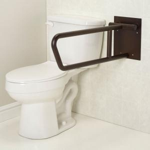 fold up grab bar beside toilet
