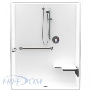 62 x 33 inches Freedom ADA Roll in Shower, RIGHT Seat