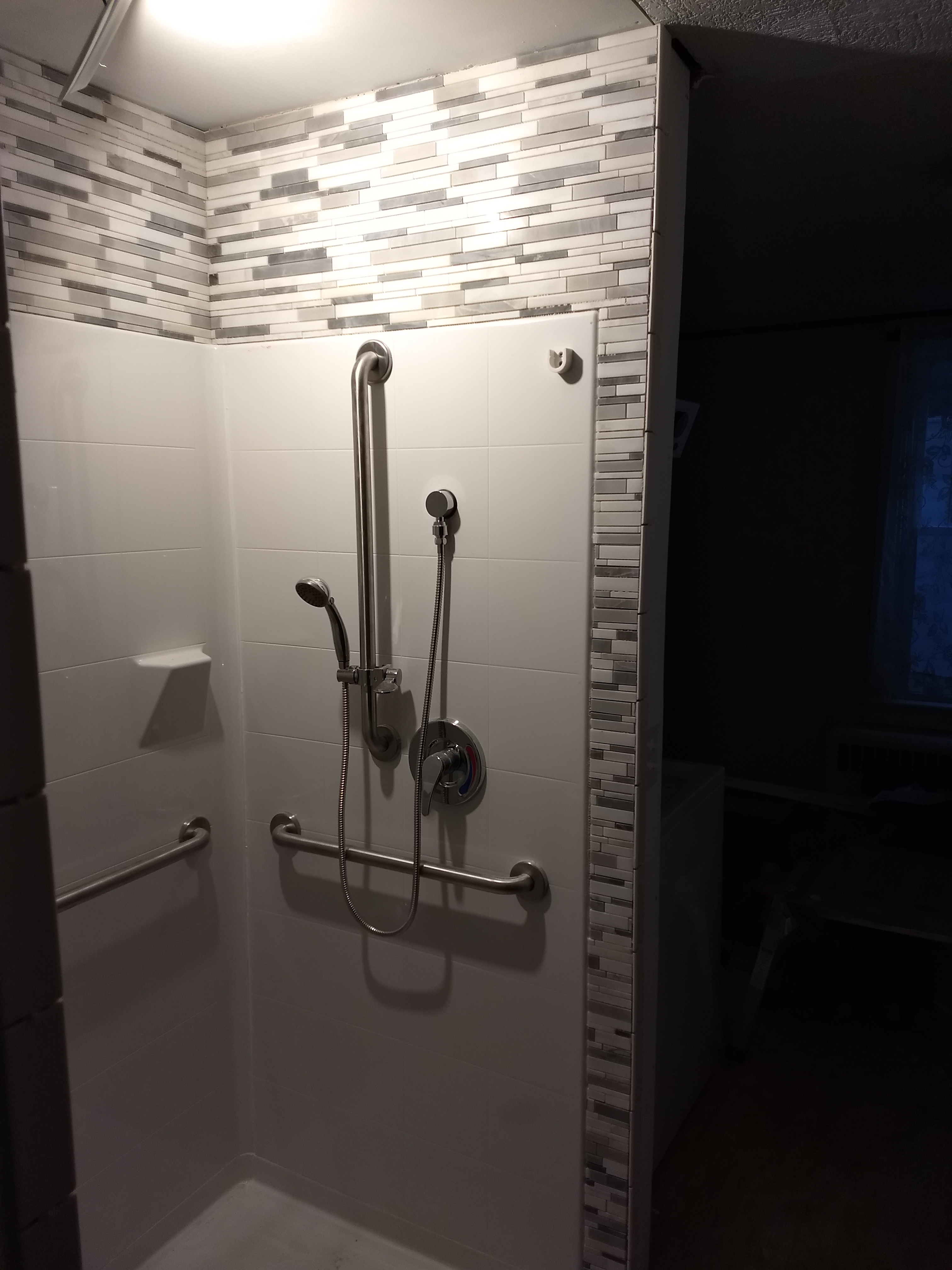 barrier free shower with grab bars