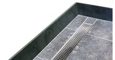 tiling shower base with trench drain
