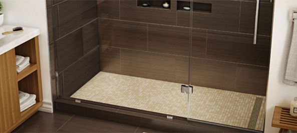 Tileable Shower Pans with Linear Channel Drain
