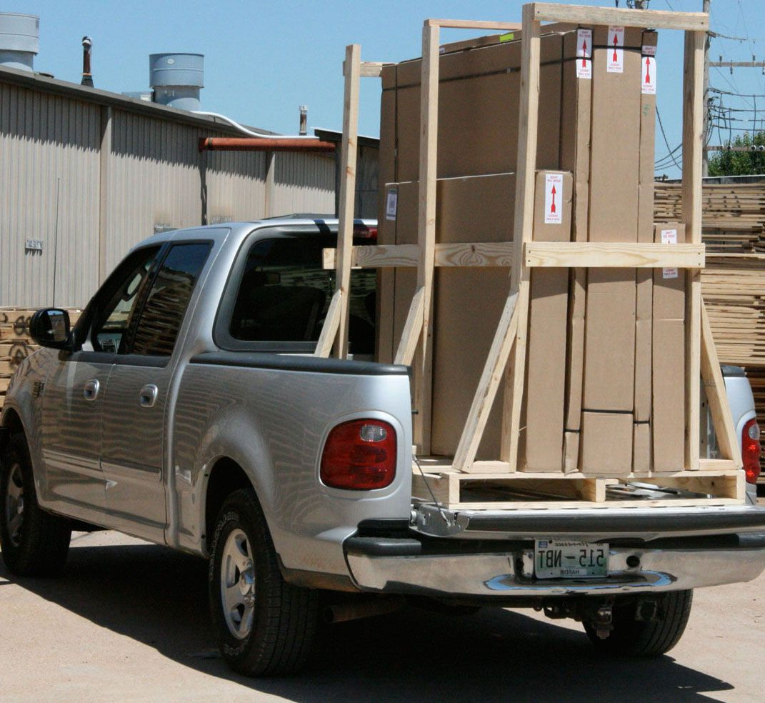 multi piece shower arrives in crate