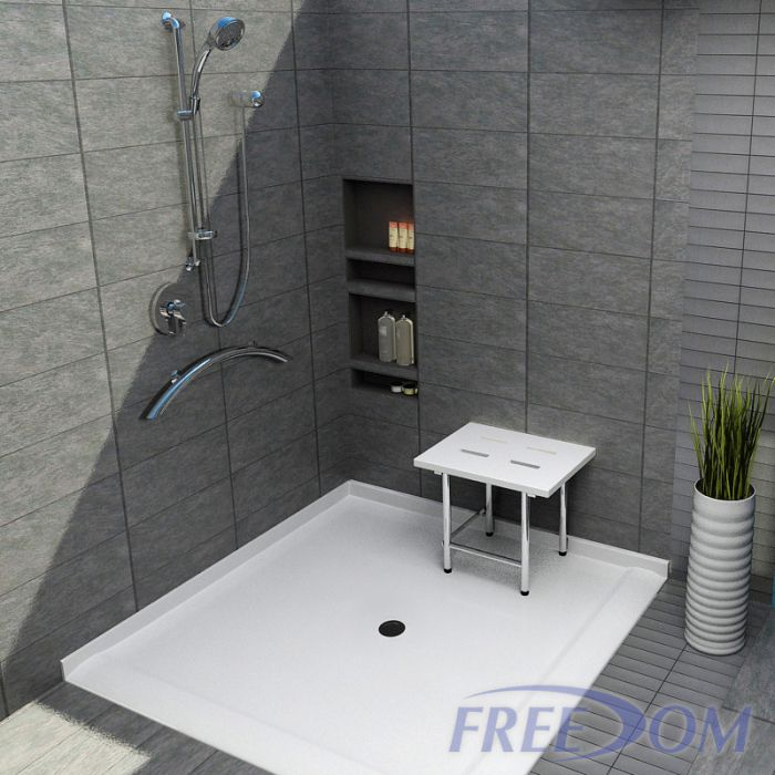 freedom roll in corner shower pan double entry 61 x 61. Black Bedroom Furniture Sets. Home Design Ideas