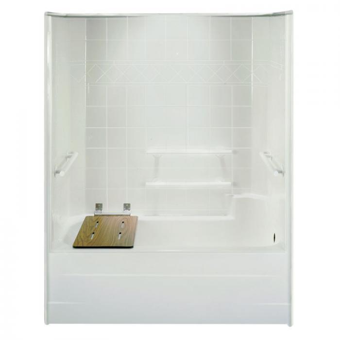 End Mount Folding Bathtub Seat, phenolic woodgrain