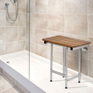 Folding Shower Bench with legs, slatted teak