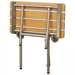 Folding shower bench in phenolic teak slatted