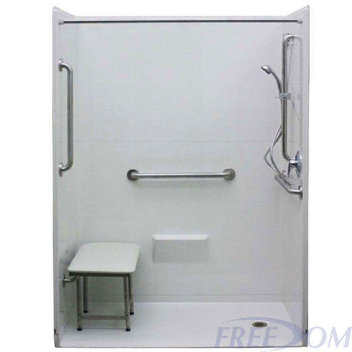 Freedom Accessible Shower, Right Drain, 5 Piece (54\