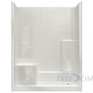 easy step shower with molded left seat three piece