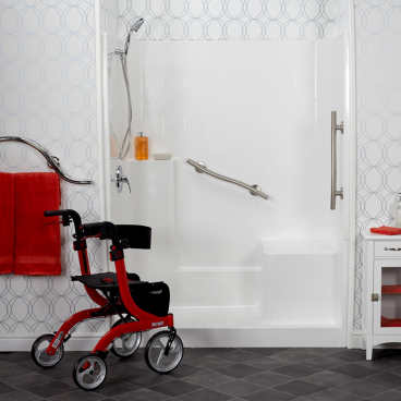 Freedom Easy step shower in wallpapered bathroom